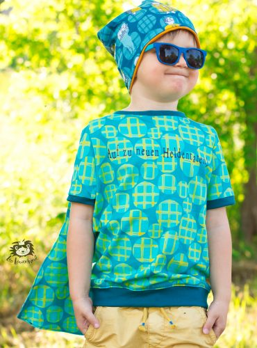 """Organic jersey """"Checked Dots"""", turquoise-mustard"""