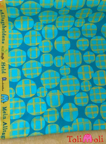 "Organic jersey ""Checked Dots"", turquoise-mustard"