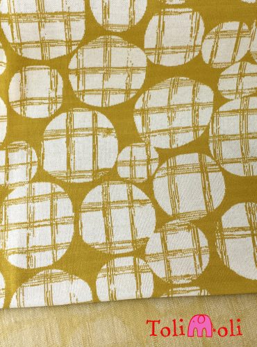 "Organic jacquard jersey ""Checked Dots"" in mustard-plain"