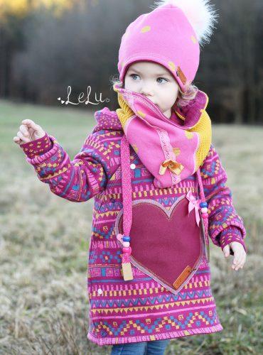 "Organic jacquard jersey ""Ethno"" in berry-pink-mustard-petrol"
