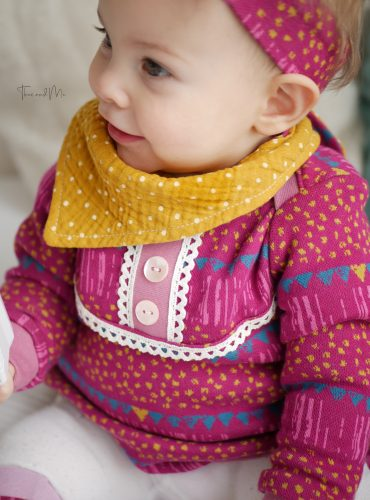 "Organic jacquard jersey ""Flying colors"" in berry-pink-mustard-plain, Jacquardlove"