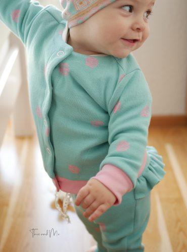 """Organic jacquard jersey """"Dotties"""" in celeste-rosé-melange, Jacquardlove"""