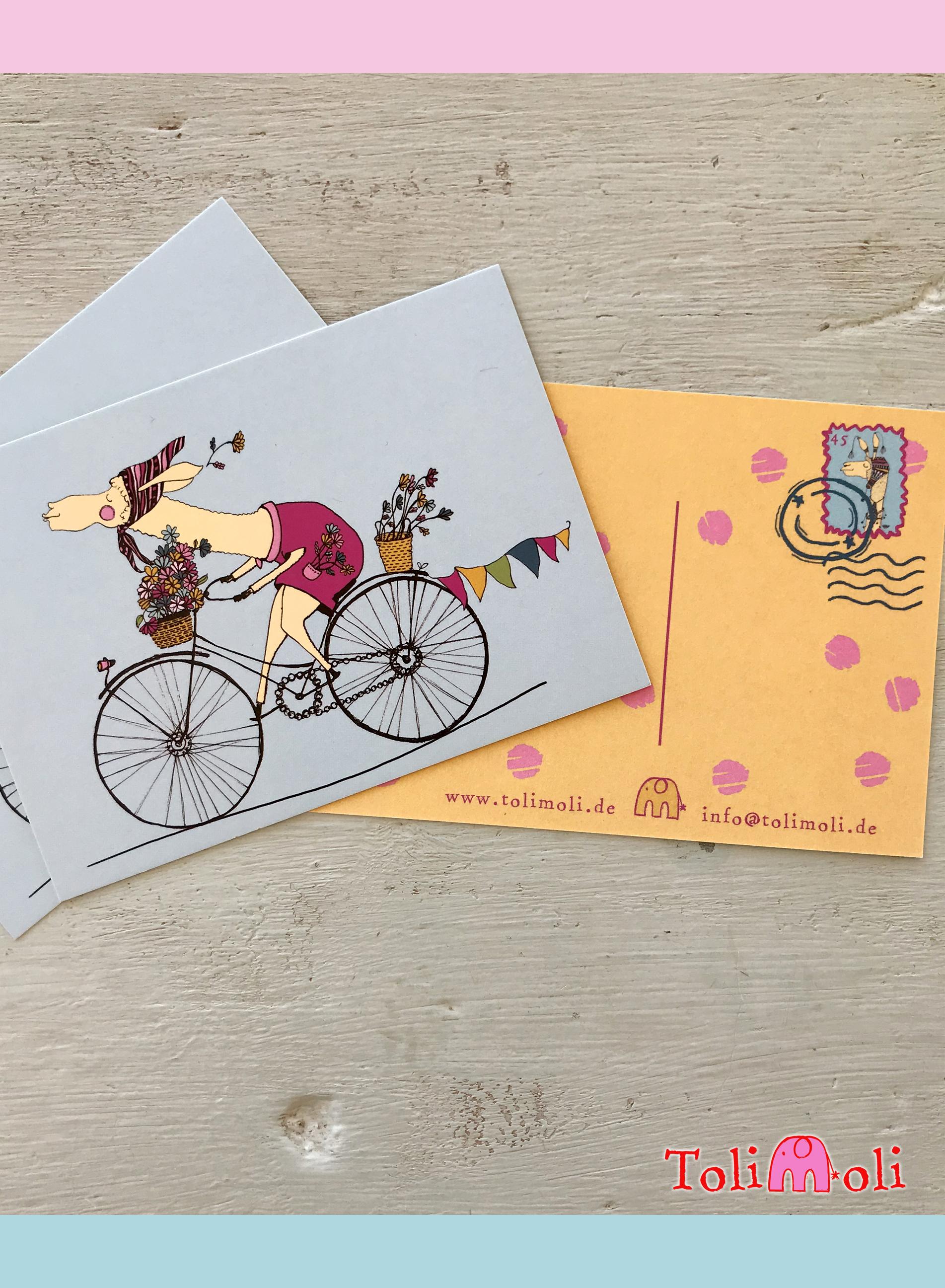 "Postkarte ""Happy Flower-Lama"""