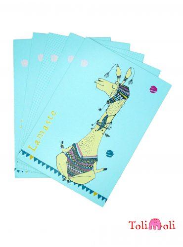 """5-er-Pack Postkarte """"Lamaste- Yogalama"""""""