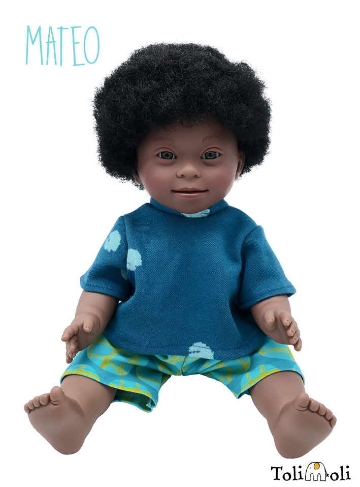 *Mateo* Black Doll with Down Syndrome, with afro hair