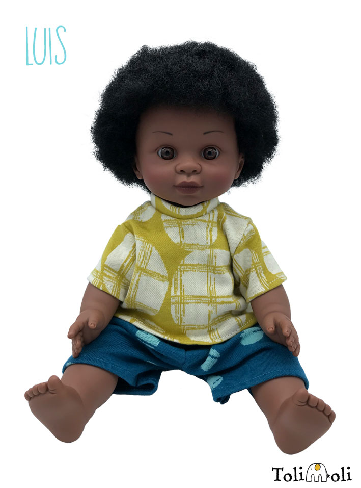 *Luis* Schwarze Puppe mit Afrohaaren