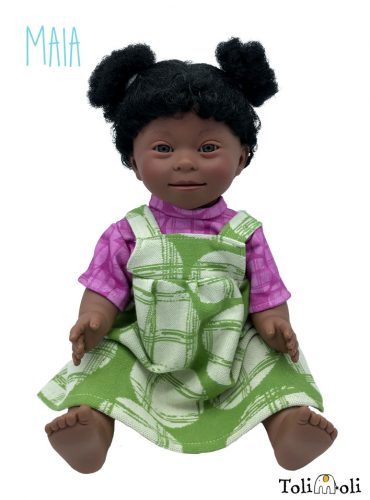 *Maia* Black Doll with Down Syndrome, with afro hair